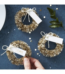 Gold Wreath Name Place Cards