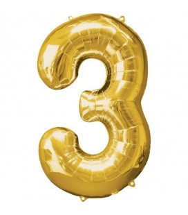 Golden Mylar Ballon Number 3
