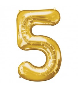 Golden Mylar Ballon Number 5
