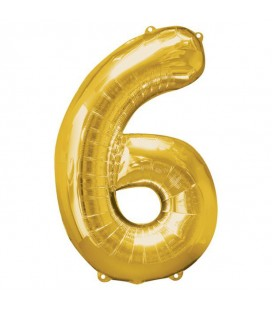 Golden Mylar Ballon Number 6