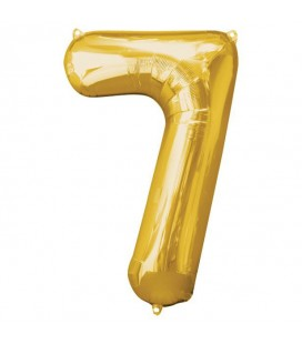 Golden Mylar Ballon Number 7