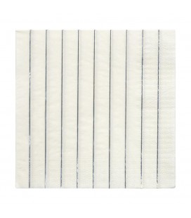 16 Metallic Silver Striped Napkins
