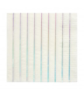 16 Metallic Holographische Striped Napkins