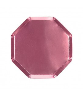 8 Holographic Pink Octagonal Dessert Plates