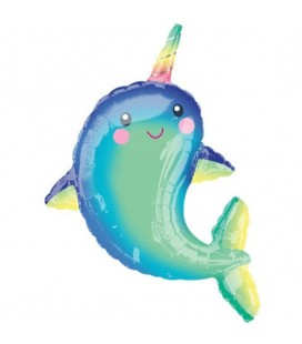 Happy Narwhal Folienluftballon