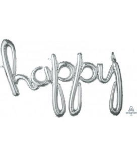 Ballon Mylar Argent Happy