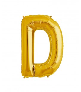 Gold Letter D Mylar Balloon