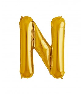 Gold Letter N Mylar Balloon