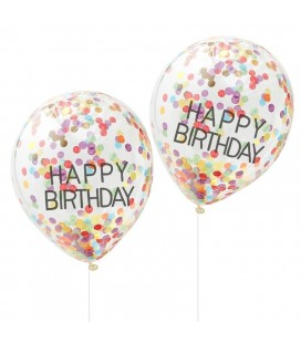 5 Happy Birthday Confetti Balloons