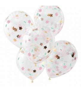 5 Floral Confetti Balloons