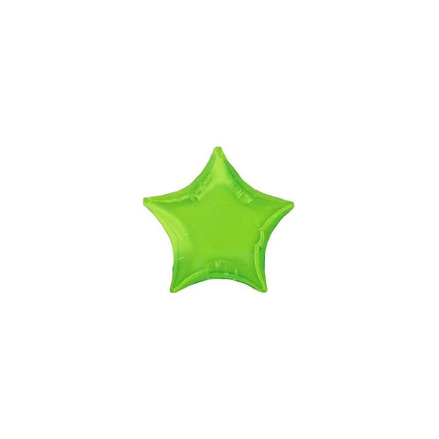 Lime Green Star Mylar Balloon