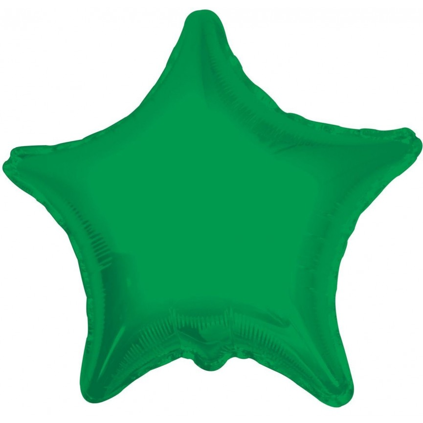 Green Star Mylar Balloon