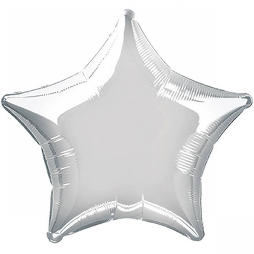 Silver Star Mylar Balloon