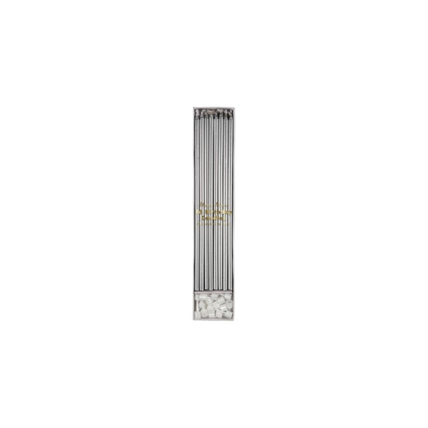16 Long Silver Candles