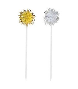 8 Gold & Silver Pompom Cocktail Picks