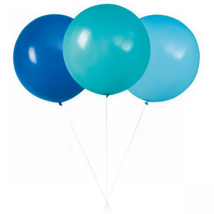3 Giant Assorted Blue Balloons