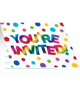 Metallic Rainbow Invitations