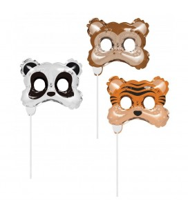 3 Photo Booth Masques Animaux Ballons
