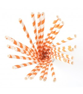 24 Orange Striped Paper Straws