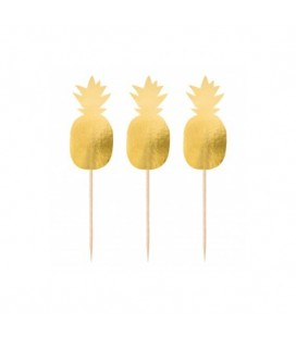 20 Gold Pineapple Picks