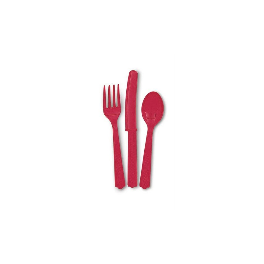 18 Red Cutlery