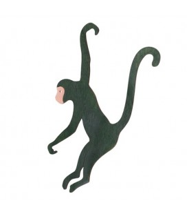 1 Green Wooden Hanging Monkey