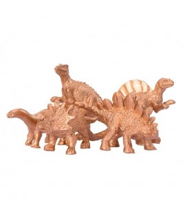 5 Gold Dinosaur Decorations
