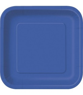 14 Grandes Assiettes Bleu Royal