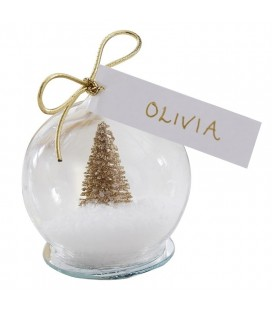 Gold Tree Snow Globe Place Cards