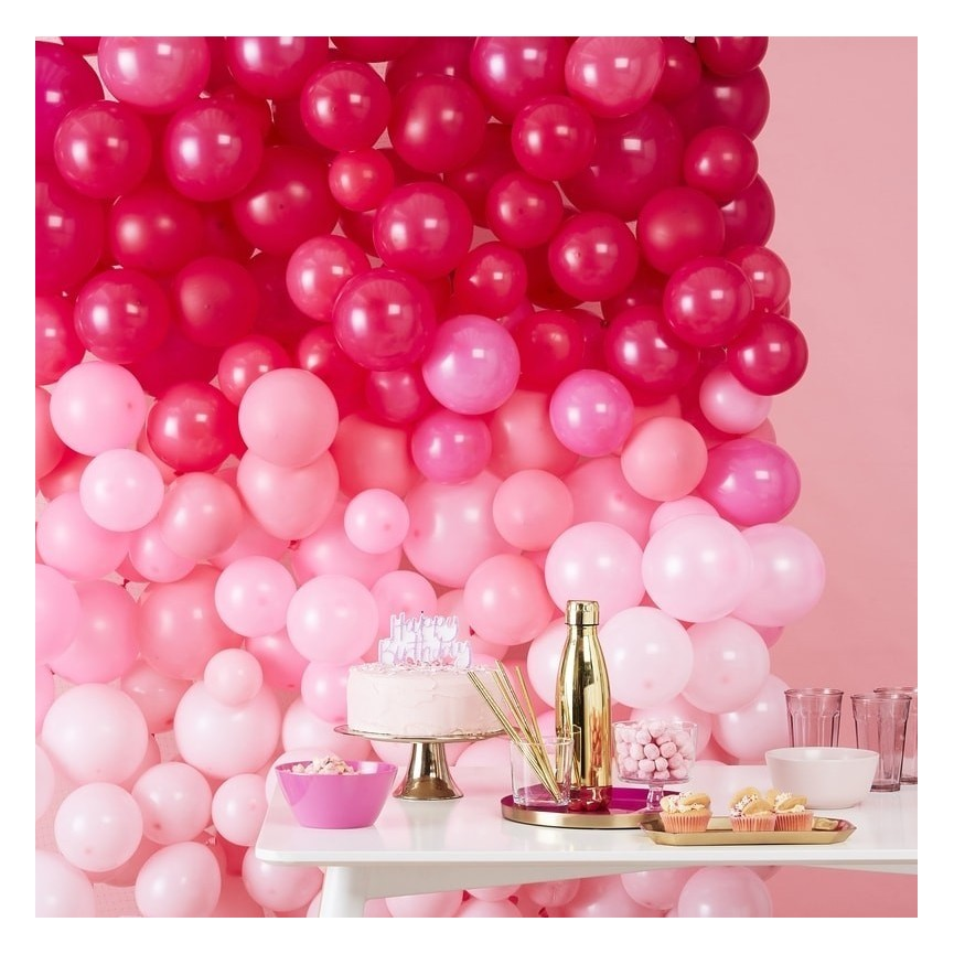 Ombre Pink Balloon Wall Decoration Kit
