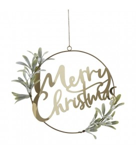 Gold Merry Christmas Door Wreath with Foliage