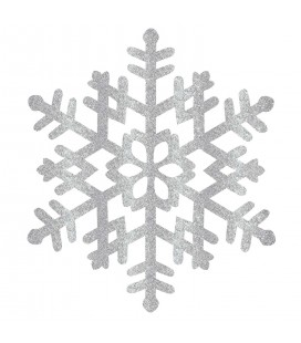 Glitter Silver Snowflake Hanging Decoration Decoration 38cm