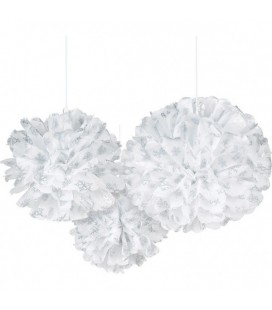 3 Pompons en Tulle Fluffly Snowflake