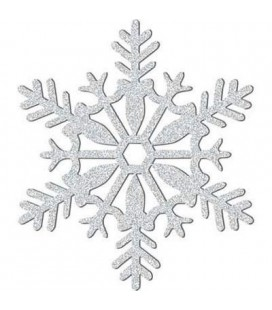 Glitter Silver Snowflake Hanging Decoration Decoration 28cm
