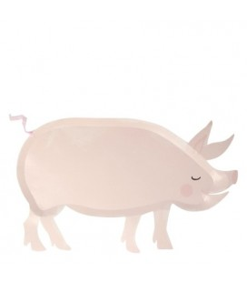 12 Pig shaped Plates Farm Fun