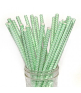 25 Green Chevron Paper Straws