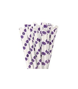 25 Purple Polka Dots Paper Straws