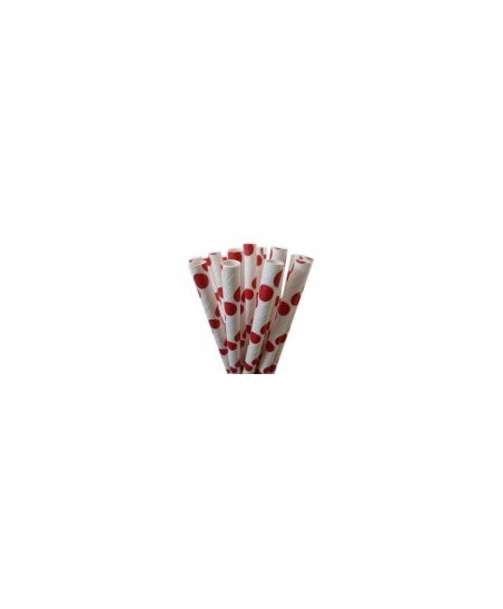 25 Red Polka Dots Paper Straws