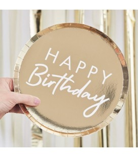 Gold Foiled Happy Birthday Plates