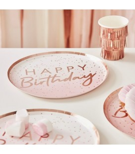 Assiettes Happy Birthday Ombré Rose Gold