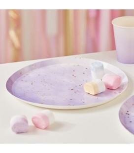 Gold Watercolour Speckle Lilac Plates