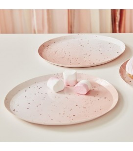 Pink Watercolour Speckle Rose Gold Plates
