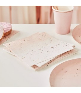 Pink Ombré Napkins with Rose Gold Speckles