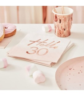 Hello 30 Rose Gold Napkins