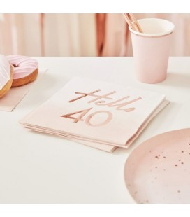 Hello 40 Rose Gold Napkins