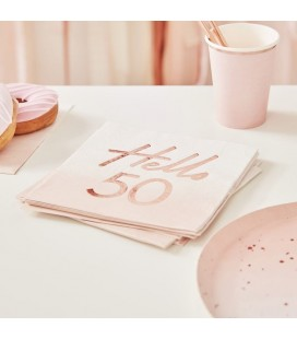 Hello 50 Rose Gold Napkins