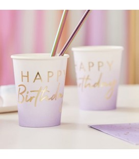 Lilac Ombre Happy Birthday Cups