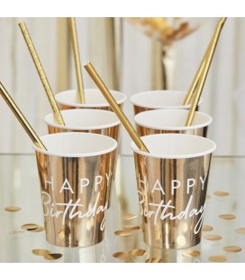 Gold Happy Birthday Cups