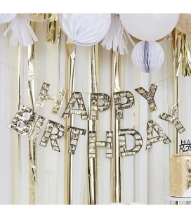 Gold Fringe Happy Birthday Garland