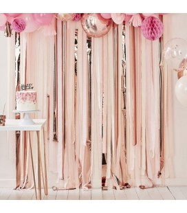 Pink and Rose Gold Party Streamers Backdrop